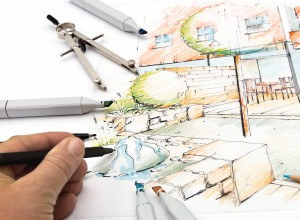 Landscaping - drawing by Hand a Sketch of a modern small City Garden